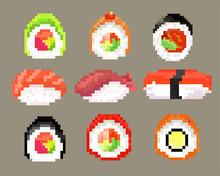 Sushi Set, Pixel Image. Vector