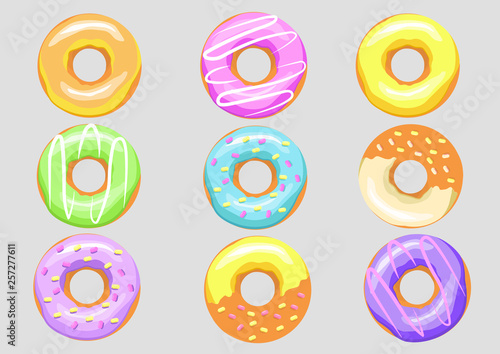 set nine colorful donuts. bright bakery product Wallpaper Mural