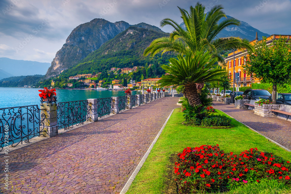 Colorful flowers and spectacular walkway, Lake Como, Menaggio, Lombardy, Italy
