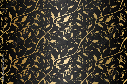 Fotomural  Seamless vector golden texture floral pattern