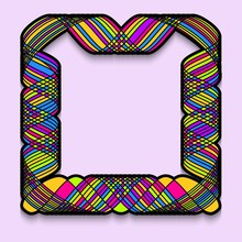 Colorful Square Frame In An Intricate Style. Template Of Web Banner, Sale Or Discount, Club Party Flyer, Big Data Poster, Fast Invitation.