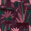 Jungle Wildlife Animals Seamless Pattern.