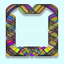 Colorful Square Frame In The Style Of Random Mosaic. Template Of Web Banner, Sale Or Discount, Club Party Flyer, Big Data Poster, Fast Invitation