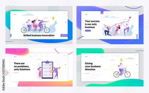 Fotografía  Creative Cooperation Developing Innovation Business Success Concept Landing Page Set