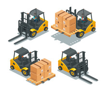 Isometric Image Of Forklift Truck With A Woman Driver And Pallet With Boxes. Front View. 3d Effect Vector Illustration Isolated On White Background. Set.