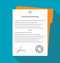 Contract, Document With Signature. Vector