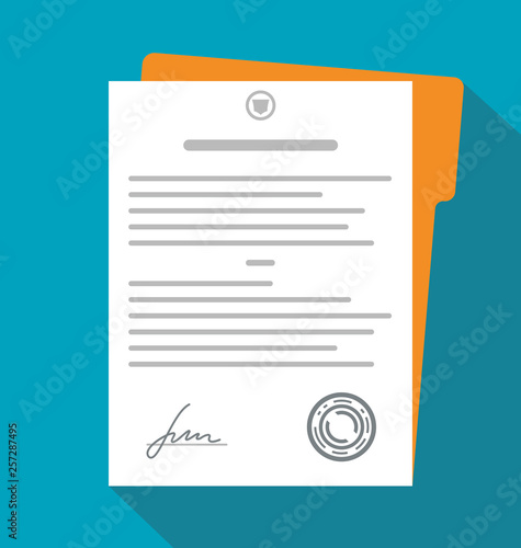 Obraz Contract, document with signature. Vector - fototapety do salonu