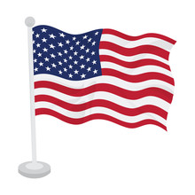 Waving Flag Of United States On A Flagpole. Vector Illustration Design