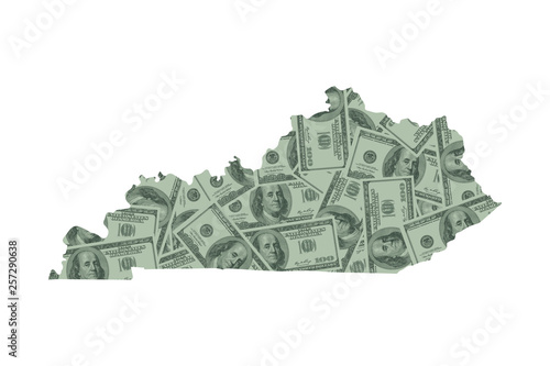 Kentucky State Map and Money Concept, Hundred Dollar Bills Canvas Print