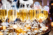 canvas print picture - Champagne glasses on sparkling background.