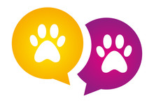 Two Dog Paws On Violet And Yellow Circles. Colorful Animal Pawprint. Pet's Pawprint Silhouette Vector Logo For Web And Print. Message Signs With Animals Foot Marks.