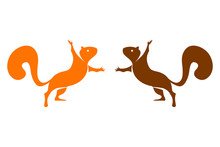 Two Vector Colorful Squirrels Isolated On White Background.  Logo Set Of Two Squirrels In Orange And Brown Colors.