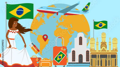 Welcome to Brazil postcard  Travel and journey concept of