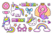 Magic Unicorn, Cat, Cute Mermaid, Rainbow, Donut. Set Of Cartoon Stickers, Patches, Badges, Pins And Prints For Kids. Doodle Cartoon Style. Vector Illustration