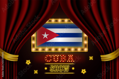 Photo Show time board for performance, cinema, entertainment, roulette, poker of Cuba country event