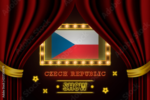 Photo  Show time board for performance, cinema, entertainment, roulette, poker of Czech Republic country event