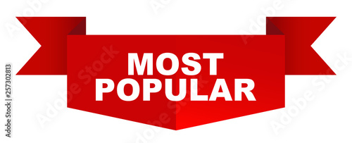 red vector banner most popular