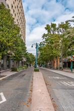 ORLANDO, FLORIDA, USA - DECEMBER, 2018: Streets Of Downtown Orlando.