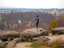 Statue Of General Warren Along Little Round Top, Gettysburg, PA. Major General Gouverneur Kemble Warren Is Considered The Hero Of Little Round Top During The Battle Of Gettysburg In July 1863.