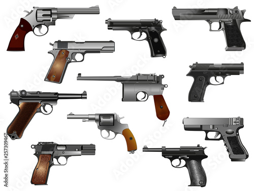 Fotografía Guns, pistols and revolvers set, isolated on white