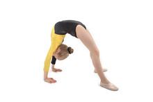 Acrobatic Girl Making Backbend Isolated On White
