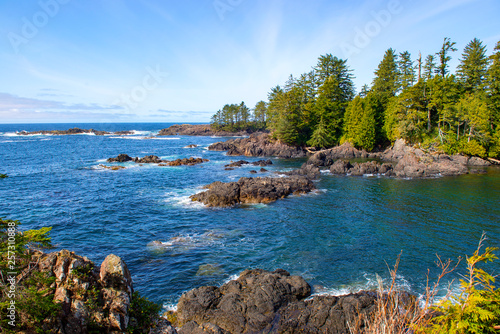 Canvas Print rugged shoreline at wild pacific trail in Ucluelet, Vancouver Island, Canada