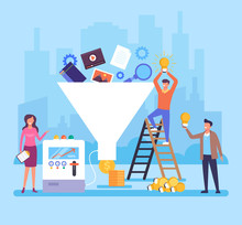 Funnel Generation People Office Workers Team Characters. Successful Business Concept. Vector Flat Cartoon Graphic Design Illustration