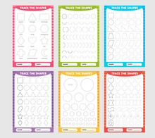 Set Of Trace The Geometric Shapes Around The Contour. Learning For Children, Drawing Tasks