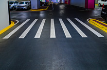 Pedestrian Crossing With Road White Marking Lines On Asphalt