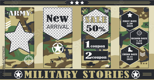 Military, army story templates for social networks, Sales, discounts, Military and police equipment. Vector illustration, pictures in flat style. © LVI