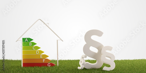 Fotografie, Obraz  3d-illustration paragraph symbol house energy efficiency