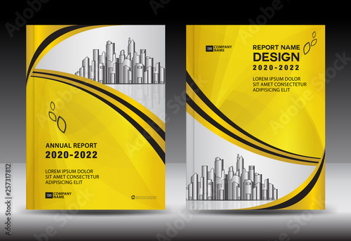 Yellow Cover template With city landscape, Annual report