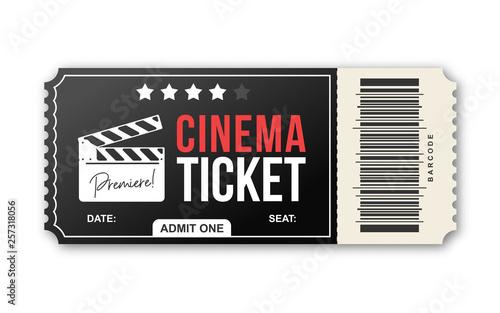 Fotografía  Cinema ticket on white background