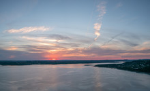 Panoramic View Of Lake Travis With ColorFul Skies In The Distance