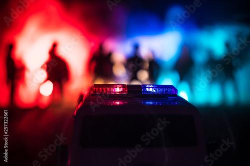 Police cars at night Fototapeta