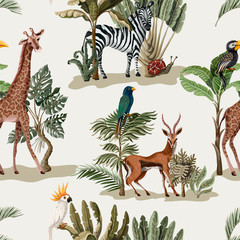FototapetaSeamless pattern with exotic trees and animals. Interior vintage wallpaper.