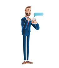 3d Illustration. Businessman Send Message From Phone