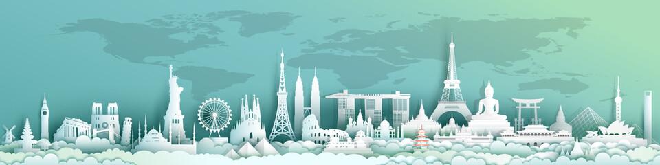 Travel landmarks world with world map background.