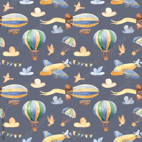 akwarela-bezszwowe-wzor-z-slodkie-samoloty-helikoptery-sterowiec-balon-tekstury-na-chrzciny-opakowania-tapety-tkaniny-tekstylia-dzieciece-wzornictwo