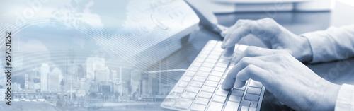 Hands typing on keyboard Wallpaper Mural