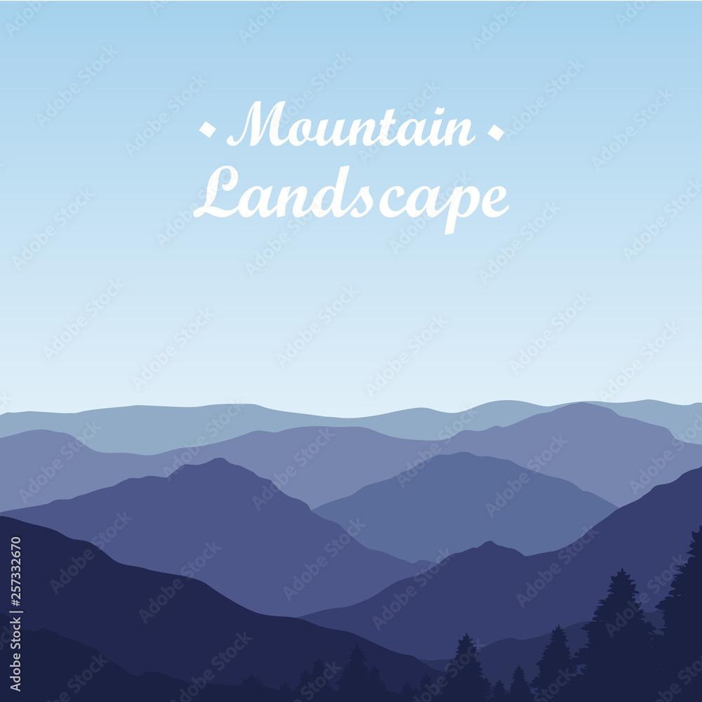 Fototapeta Beautiful Mountain landscape on Sunny Day. Vector Illustration - obraz na płótnie