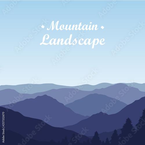 Fototapeta Beautiful Mountain landscape on Sunny Day. Vector Illustration obraz na płótnie