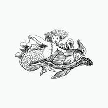 Mermaid And A Turtle Vintage D...