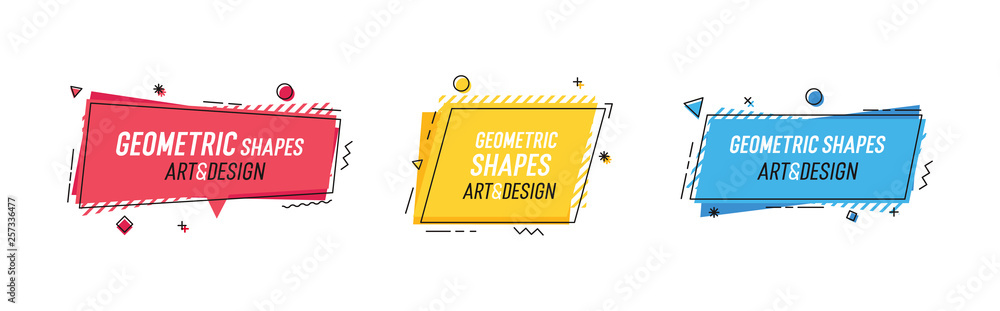 Fototapeta Geometric shapes with abstract elements and place for text. Vector graphic design illustrations for advertising, sales, marketing, design and art projects, posters