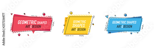 Obraz Geometric shapes with abstract elements and place for text. Vector graphic design illustrations for advertising, sales, marketing, design and art projects, posters - fototapety do salonu