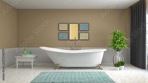 Fototapeta Bathroom interior. 3D illustration obraz na płótnie