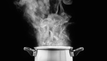 Steam Over Cooking Pot In Kitc...