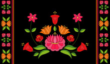 Hungarian Folk Pattern Vector. Kalocsa Floral Ethnic Ornament. Vintage Slavic Eastern European Print On Black Background. Traditional Flowers Embroidery Design For Bolster Pillow Case.