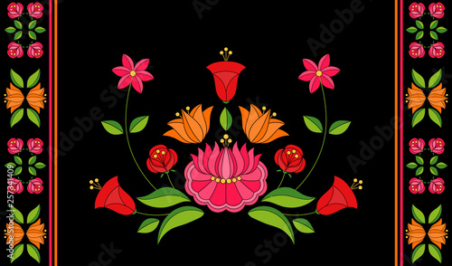 Foto auf AluDibond Boho-Stil Hungarian folk pattern vector. Kalocsa floral ethnic ornament. Vintage slavic eastern european print on black background. Traditional flowers embroidery design for bolster pillow case.