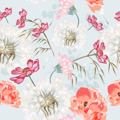 Fototapeta Inspiracje na wiosnę Floral seamless pattern with spring flowers